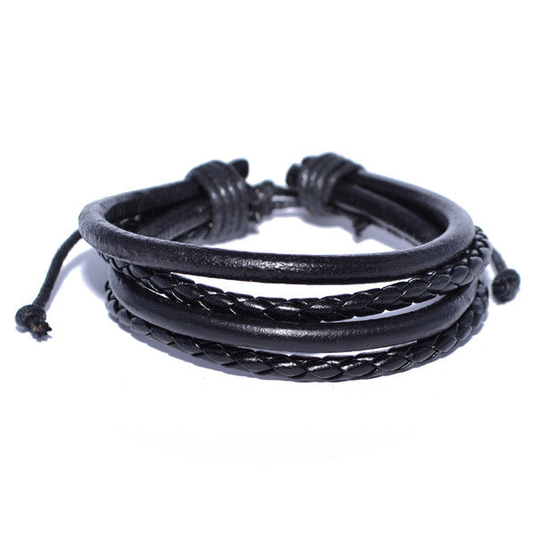 Men's Braided Black Leather Cord Bracelet