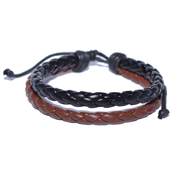 men's leather bracelets braided