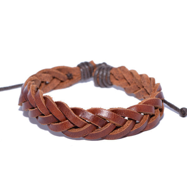 Men's Buck Brown Braided Leather Bracelet