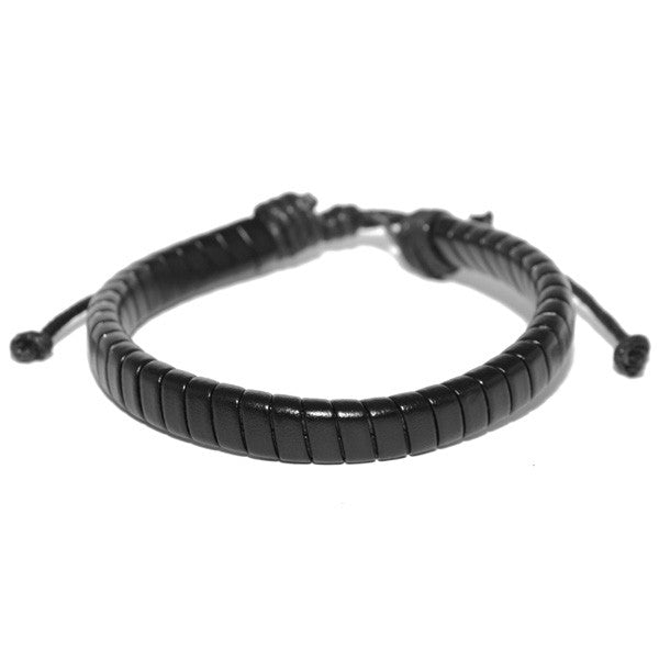 mens black leather bracelet