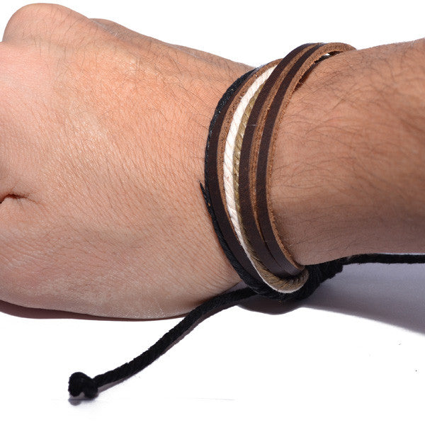 Men's Brown Leather and Rope Strand Bracelet