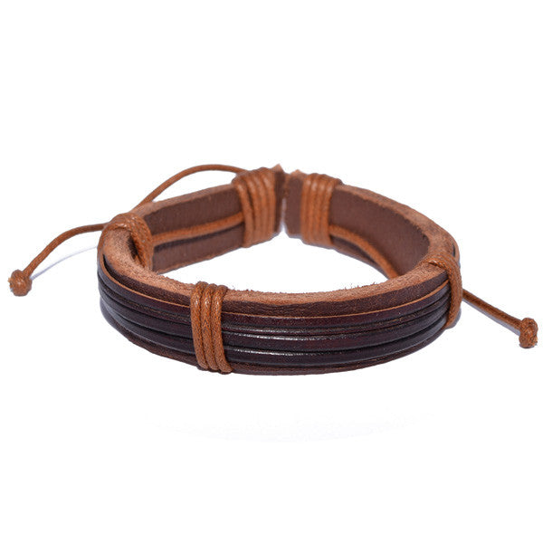 Stylish Men's Brown Leather Band and Rope Strand Bracelet