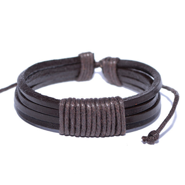 Men's Brown Leather Rope Strand Modern Bracelet