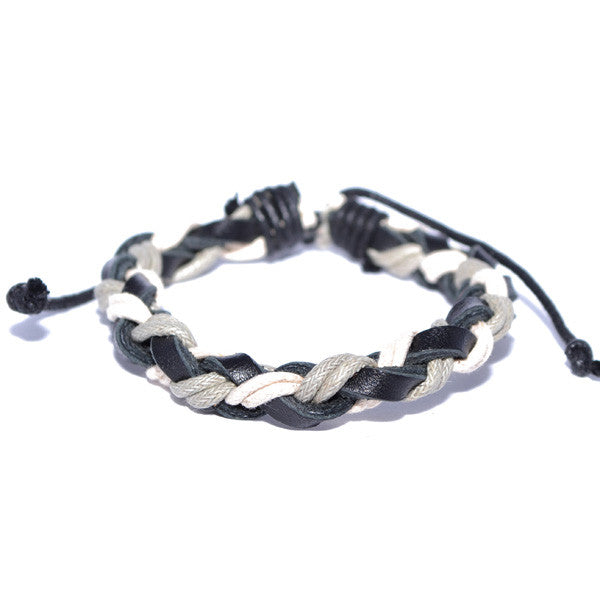 Men's Braided Leather and Rope Surfer Bracelet Wristband