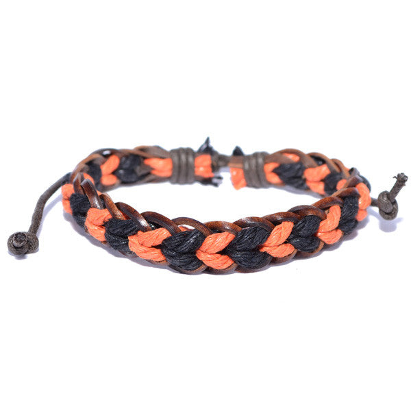 Men's Braided Leather Black and Orange Rope Bracelet Surfer Wristband