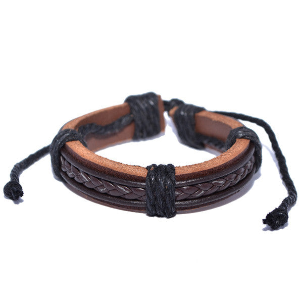 Men's Brown Braided Leather Cuff Bracelet Wristband