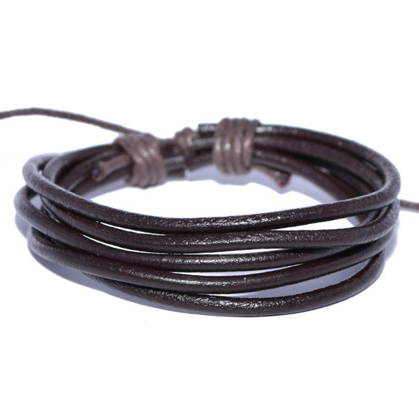 Men's Dark Brown Leather Cord Wristband Bracelet
