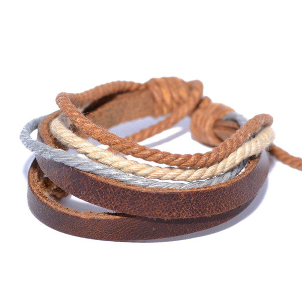 Men's Brown Leather Band Rope String Wristband Bracelet