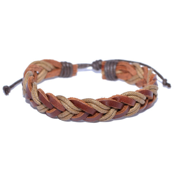 Men's Braided Leather Hemp String Wristband Bracelet