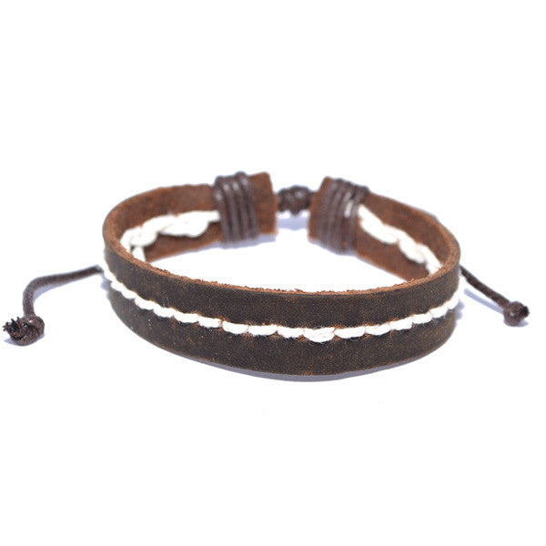 Men's Adjustable Brown Leather Cuff Wristband Bracelet