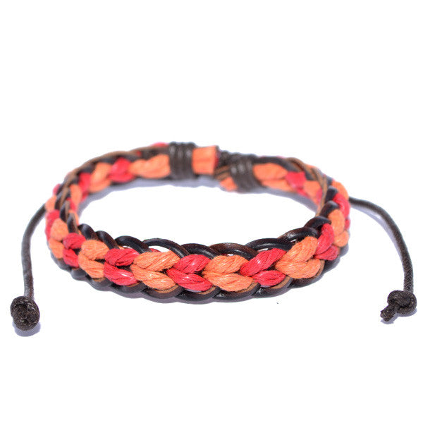 Men's Braided Leather Red and Orange Rope Strand Surfer Wristband Bracelet