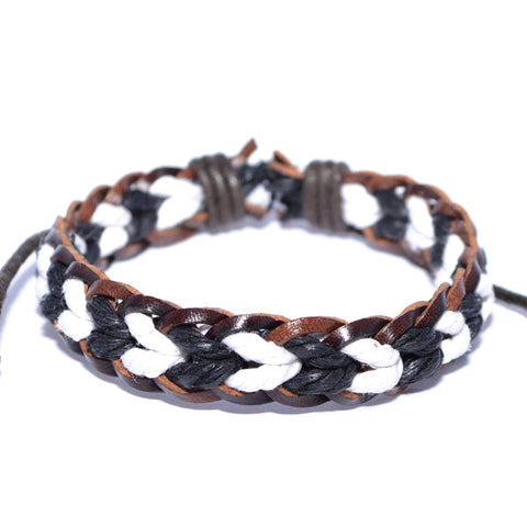 Men's Braided Leather Black and White Rope Strand Surfer Wristband Bracelet