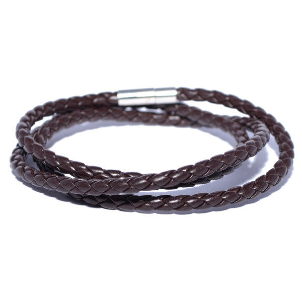 Men's Brown Braided Leather Bracelet