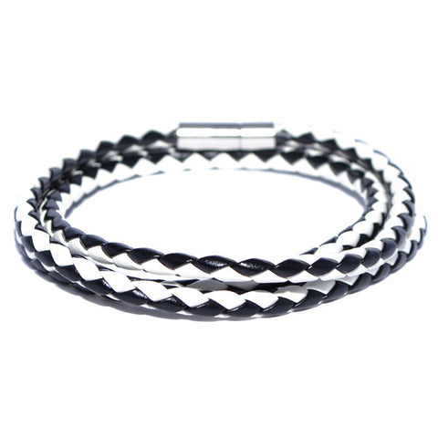 Men's Black and White Braided Leather Bracelet