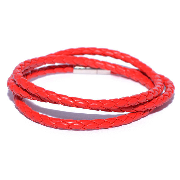 Men's Red Braided Leather Bracelet