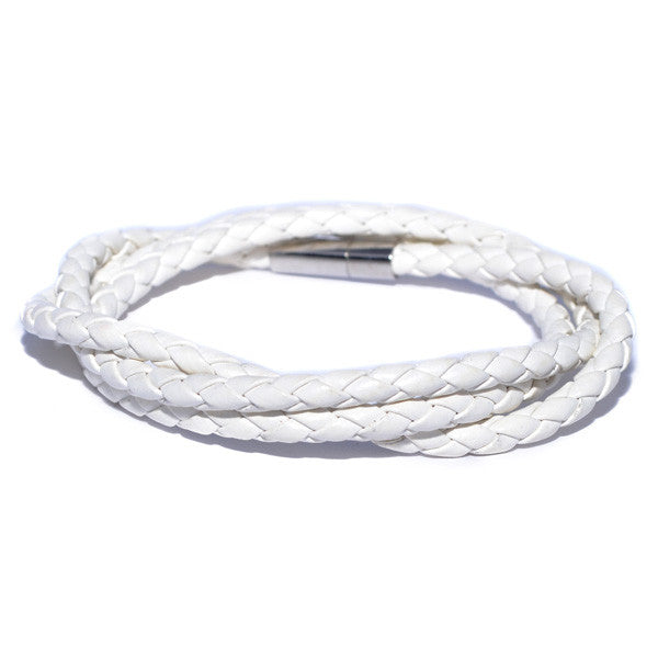 Men's White Braided Leather Bracelet