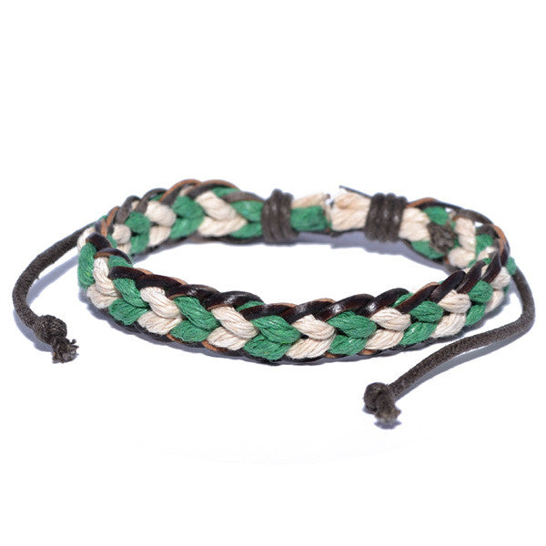 Men's Two-Tone Green and White Surfer Bracelet