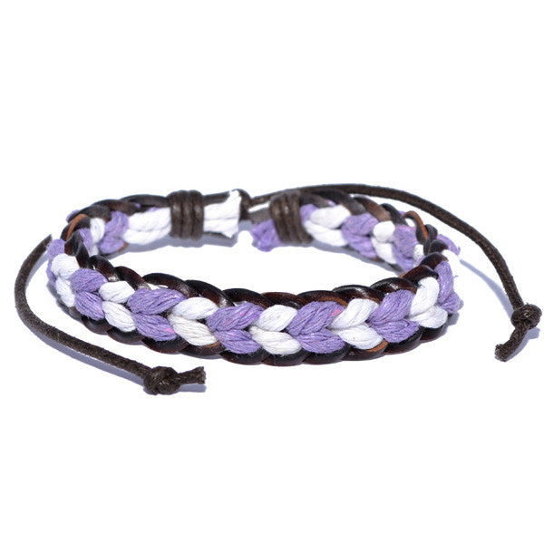 Men's Braided Purple and White Surfer Wristband Bracelet