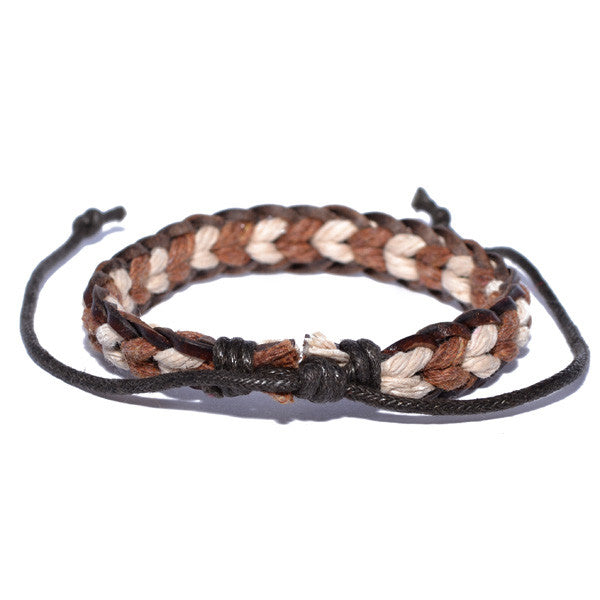 Men's Two-Tone Brown and White Surfer Bracelet