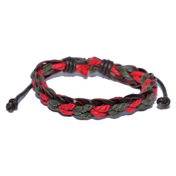 Men's Braided Red and Green Surfer Wristband Bracelet