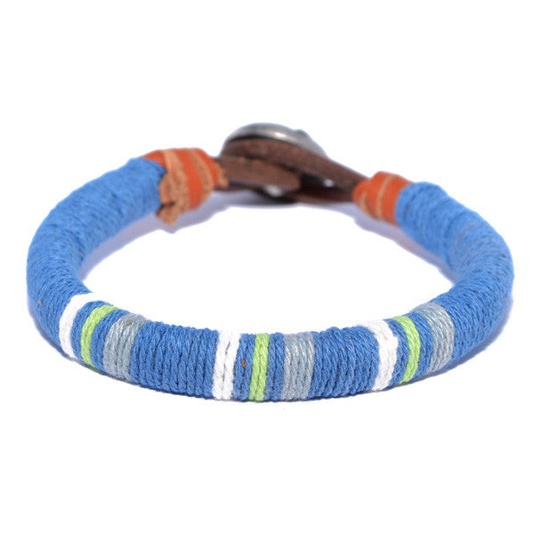 Men's Blue Threaded Leather Bracelet