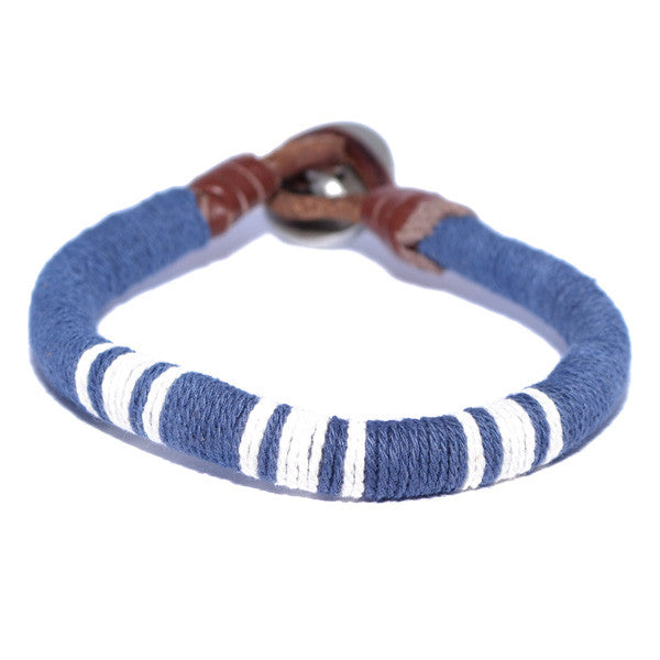 Men's Blue and White Threaded Leather Wristband Bracelet