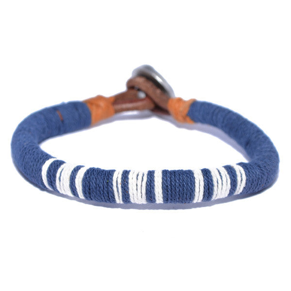 Men's Blue and White Threaded Leather Bracelet