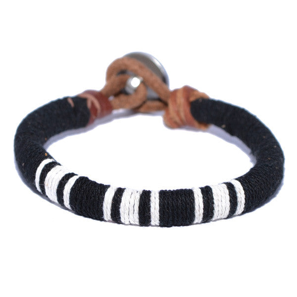 Men's Black and White Threaded Leather Bracelet