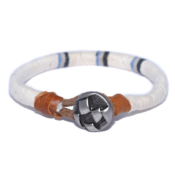 Men's White Threaded Leather Bracelet