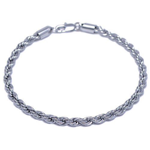 Men's 4mm Silver Plated Rope Chain Bracelet