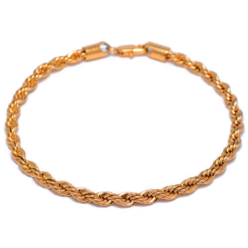 4mm Gold Plated Rope Chain Bracelet for Men