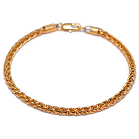 4mm Gold Plated Franco Chain Bracelet for Men