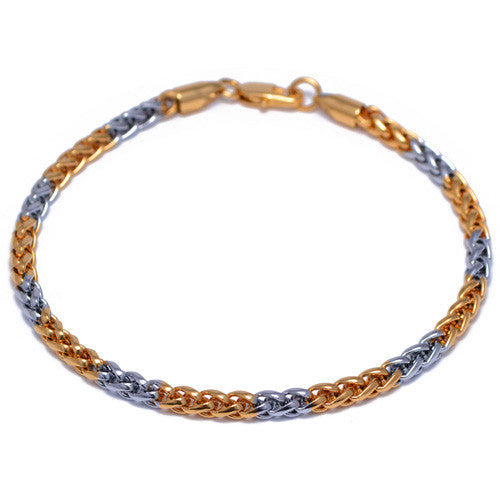 Men's 4mm Silver and Gold Plated Franco Bracelet