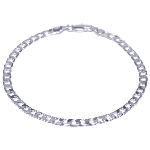 4mm Chrome Plated Curb Link Bracelet for Men