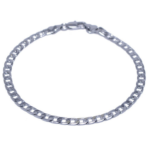4mm Silver Plated Curb Chain Bracelet