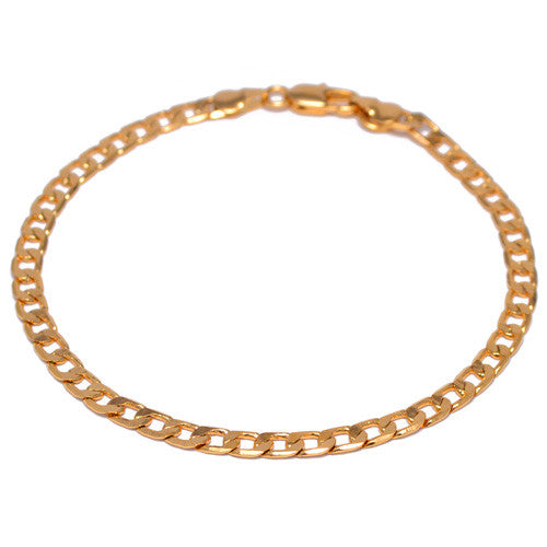 Men's 4mm Gold Plated Curb Link Bracelet