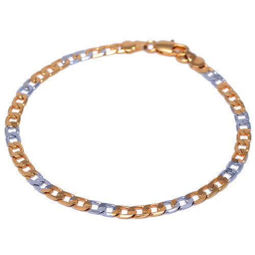Men's 4mm Gold and Silver Plated Curb Link Bracelet