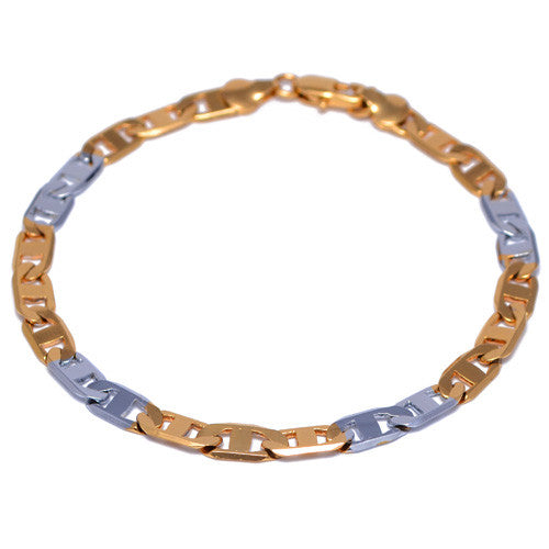 4mm Gold and Silver Plated Marina Link Bracelet for Men
