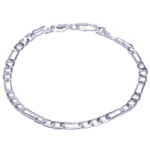 4mm Chrome Plated Figaro Link Bracelet for Men