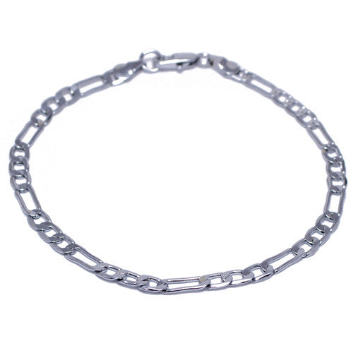 Men's 4mm Silver Plated Figaro Link Bracelet