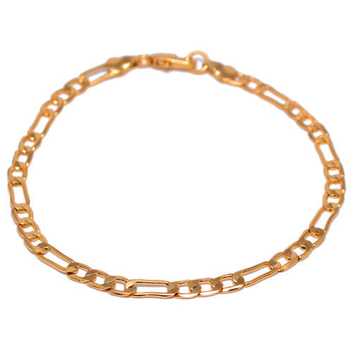 Men's 4mm Yellow Gold Plated Figaro Link Bracelet