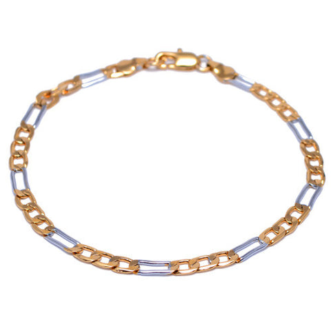 Men's 4mm Gold and Silver Plated Figaro Link Bracelet