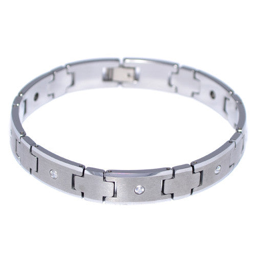 Tungsten Carbide CZ Brushed Men's Bracelet