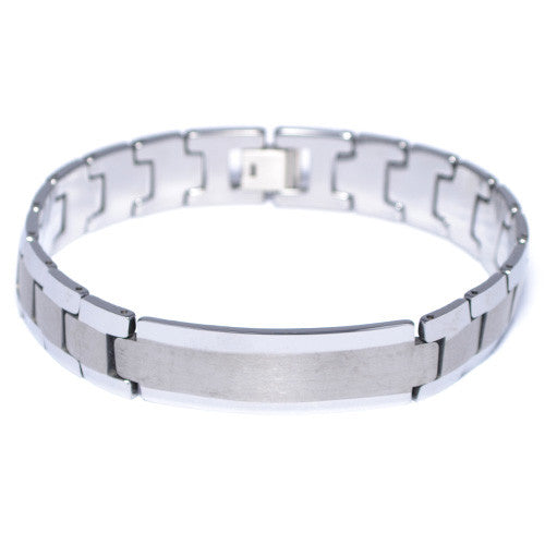Men's Tungsten Carbide Link ID Bracelet