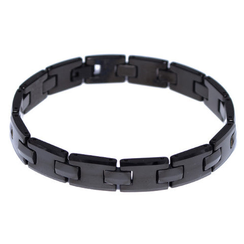 Men's Black Tungsten Carbide Link Bracelet