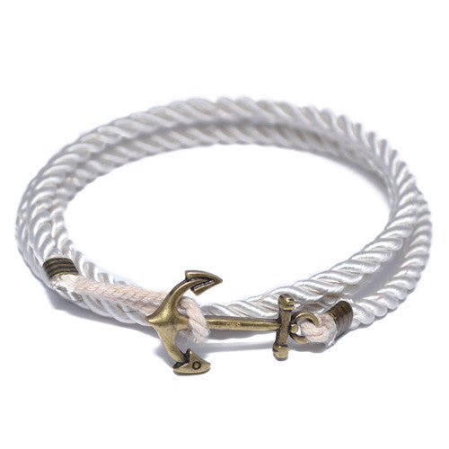 White Nautical Anchor Wrap Bracelet