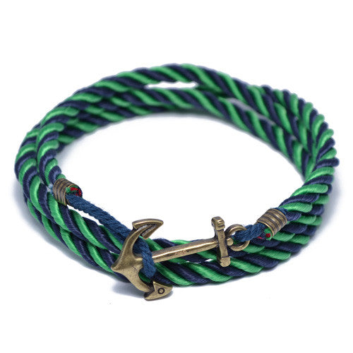 Blue and Green Nautical Anchor Wrap Bracelet