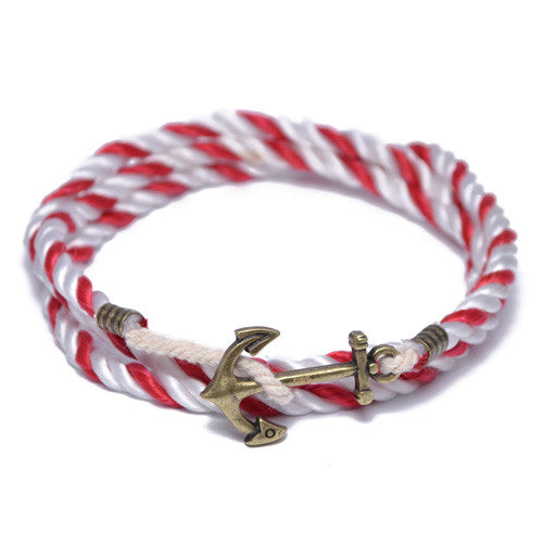 Red and White Nautical Anchor Wrap Bracelet