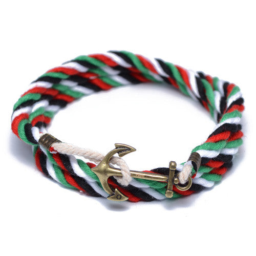 Multi Color Nautical Anchor Wrap Bracelet