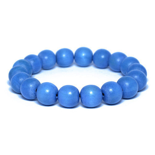 Men's Blue Wooden Bead Bracelet